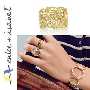 🆕🍯 Golden Honeycomb Band Ring c+i R044G-6/7